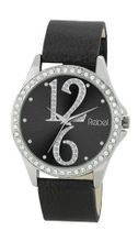 Rebel Ladies Analogue Black Dial Diamante Bezel & Black PU Strap REB2021