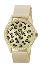 Rebel Ladies Gold Leopard Dial Diamante Bezel & PU Strap Fashion REB2020