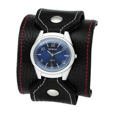 Red Monkey Designs RM258J-QA2 Stitched Black Leather Blue Dial