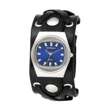 Red Monkey Designs Unisex RM666-XA2 X-Strap 2 Black Leather Blue Dial