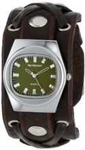 Red Monkey Designs Unisex RM666-XA3 X-Strap 3 Brown Leather Olive Dial