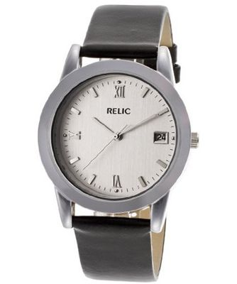 Relic Black Leather Band Silver Dial PR6072