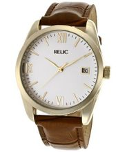 Relic Brown Crocodile Leather Band White Dial PR6164