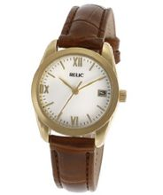 Relic Brown Crocodile Leather Band White Dial PR6165