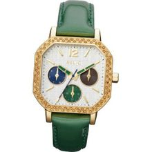 Relic by Fossil Auburn Gold Tone Green Leather ZR15684