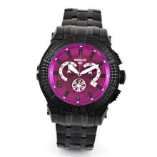 Renato Big Buzo BB52-P Swiss Chronograph Purple Dial 1650ft Diver Black Stainless Steel