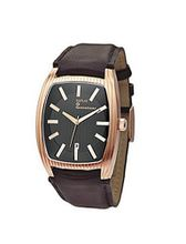Replay Gents Black Dial Rose Gold Case Brown Leather Strap