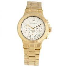 Republic Gold Tone Stainless Steel Runway Chronograph