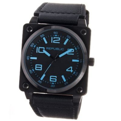 Republic Stainless Steel All Black Leather Strap Aviation