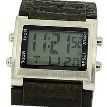 Retro Boys / Digital Chronograph Green Pu Wide Strap Sports RETRO-10B