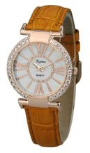 Ladies Crystal Diamond Brown Leather Strap White Dial Rose Gold Roman Numerals and Case - RCW0089