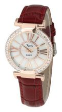 Ladies Crystal Diamond Red Leather Strap White Dial Rose Gold Roman Numerals and Case - RCW0087