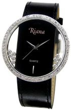 Ladies Designer Black Leather Strap Clear Dial with Moving Swarovski Crystals - RCW0070