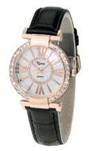 Ladies Designer Crystal Diamond Black Leather Strap White Dial Rose Gold Roman Numerals and Case - RCW0085