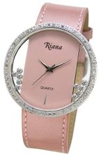 Ladies Designer Swarovski Moving Happy Crystals Pink Leather Strap Transparent Dial - RCW0073