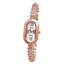 Ladies Luxury Crystal Diamond Bracelet Rose Gold Oblong Shaped Dial-RCW18