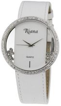 Ladies Luxury Swarovski Crystal White Leather Strap Clear Dial with Happy Moving Crystals - RCW0071