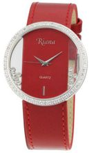 Ladies Red Leather Designer Swarovski Crystals Clear Dial with Moving Crystals Large Face - RCW0072