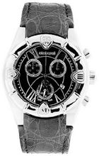 Roberto Cavalli 7251616155 Stainless Steel Case Black Dial Leather Strap