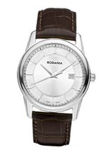 Rodania Swiss Celso Quartz with Silver Dial Analogue Display and Brown Leather Strap RS2507320