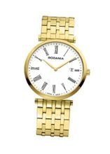 Rodania Swiss Elios Quartz with White Dial Analogue Display and Gold Stainless Steel Gold Plated Bracelet RS2505662