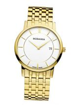 Rodania Swiss Elios Quartz with White Dial Analogue Display and Gold Stainless Steel Gold Plated Bracelet RS2504560
