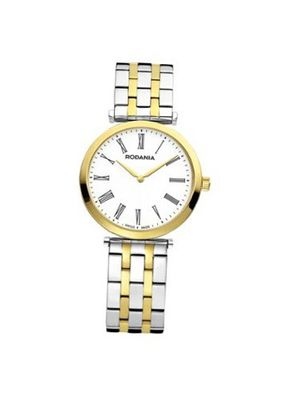 Rodania Swiss Elios Quartz with White Dial Analogue Display and Two Tone Stainless Steel Gold Plated Bracelet RS2505782