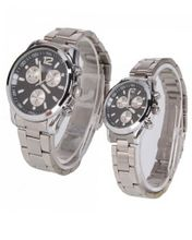 RoKo A Pair of Stainless Steel Black Round Dial Wrist Couple es