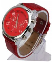 RoKo Fashion Charming PU Leather Band Round Steel Case Wrist Red