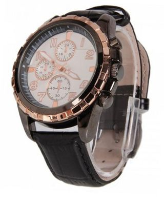 RoKo Fashion PU Leather Round Dial Copper Pointer Wrist