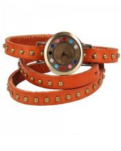 RoKo Round Studs Cow Leather Colorful Dots Dial Bracelet Bangle Wrist