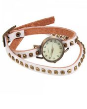 RoKo Square Studs Cow Leather Arabic Numbers Dial Bracelet Bangle Wrist