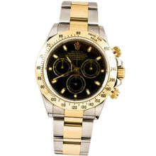 Rolex 40mm Stainless Steel & 18K Gold Daytona Model 116523 Black Stick Dial Inner Bezel Engraving Model