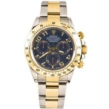 Rolex 40mm Stainless Steel & 18K Gold Daytona Model 116523 Blue Arabic Dial Inner Bezel Engraving Model
