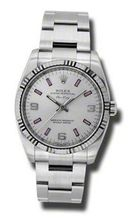 Rolex Airking Silver Arabic Pink Stick Dial Fluted 18kt White Gold Bezel Oyster Bracelet 114234SAPSO