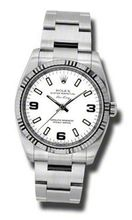 Rolex Airking White Arabic and Stick Dial Fluted 18k White Gold Bezel Oyster Bracelet 114234WASO
