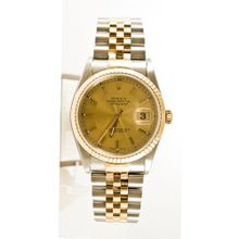 Rolex Datejust 16233 Steel & Gold Champagne Stick Dial & Fluted Bezel