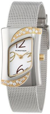 Romanson RM0388QL1CA11G Modern Swiss Quartz Crystal Encrusted Stainless Steel Band
