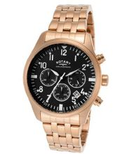 Aquaspeed Chronograph Black Dial Rose Gold Tone Ion Plated Stainless Steel