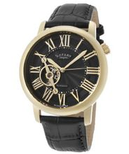 Automatic Gold Tone IP SS Case Black Dial Black Genuine Leather