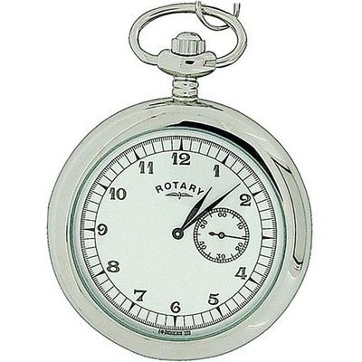 Rotary Gents Silver Tone Metal Pocket Sub-Dial On 12 Inch Chain MP00730/18