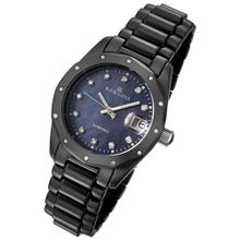 Rougois Black Ceramic with 23 Genuine Diamonds and Mother of Pearl Dial