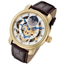 Rougois Gold Case and Gold Movement Dual Time Zone with White Accents and Moonphase Display Brown Leather Band