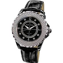 Cubic Zirconia Bezel Black Ceramic and Stainless Steel Black Leather