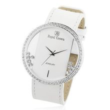 Cubic Zirconia Bezel Clear Glass Dial White Leather