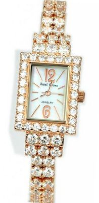Royal Crown 3584RG Diamond Rectangle Dial Rose-golden Stainless Steel Wrist