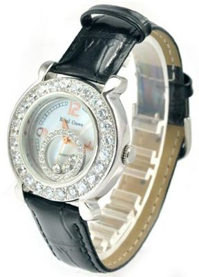 Royal Crown 3773 Jewelry Waterproof Round Dial Black Leather Strap