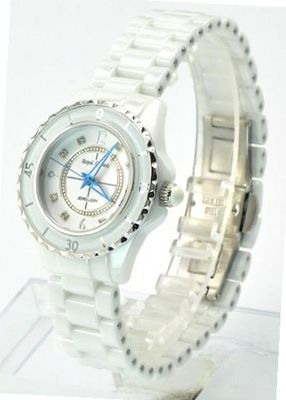 Royal Crown 3821-5W Jewelry Waterproof Round Dial White Ceramic Strap