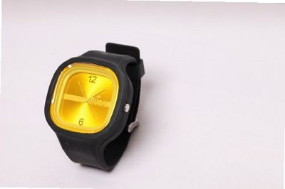 RUBR I BLACK/YELLOW Unisex Oversized Silicone Japanese Quartz