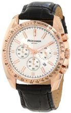 Rudiger R1000-09-001L Dresden Rose Gold IP Silver Luminous Dial Black Leather Chronograph Tachymeter